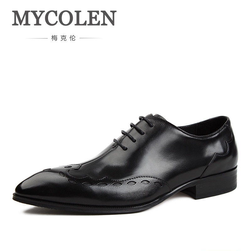 MYCOLEN Luxury Genuine Leather Red Black Lace Up Men's Dress Shoes Formal Party Office Man Oxfords Men Dress Shoes Rubber Sole недорого