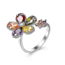 2019 New High Quality Flower Shaped Cut Design Opening Rings 7 Colors Multicolor CZ Silver Ring for Women Fashion Jewelry Gifts