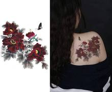Large Tattoo Peony Flowers Butterfly Back Waterproof Temporary Henna Tattoo Large Flowers Tattoos Sticker For Body Art