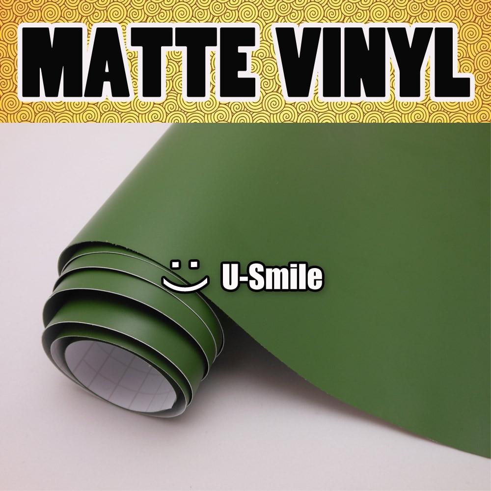 Военная Зеленая матовая виниловая Военная Зеленая матовая обертка без пузырьков для автомобиля Размер: 1,52x30 м/рулон