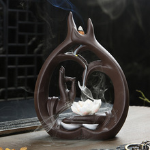 Backflow Incense Burner Lotus Buddha Hands With and Bottle  stove sandalwood incense Zen Home Garden Decor