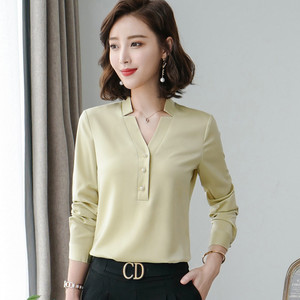Image 2 - High Quality Fashion Women Shirt New Autumn V Neck Long Sleeve Slim Business Blouses Office Ladies Light Green Work Tops