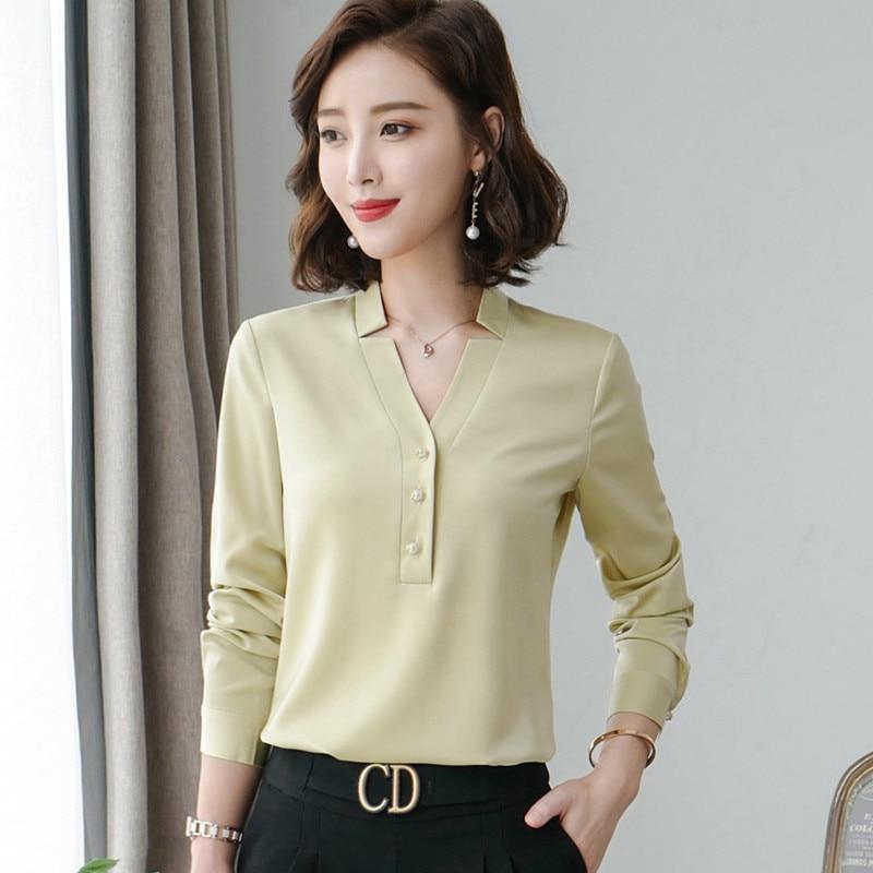 Image 2 - Wysokiej jakości moda damska koszula nowa jesienna v neck z długim rękawem slim business bluzki biurowa, damska jasnozielona bluzki do pracyBluzki i koszuleOdzież damska -