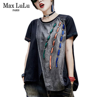 Max LuLu Summer 2018 Famous Brand Girls Denim Streetwear Womens Short Sleeve T Shirts Fashion Crop
