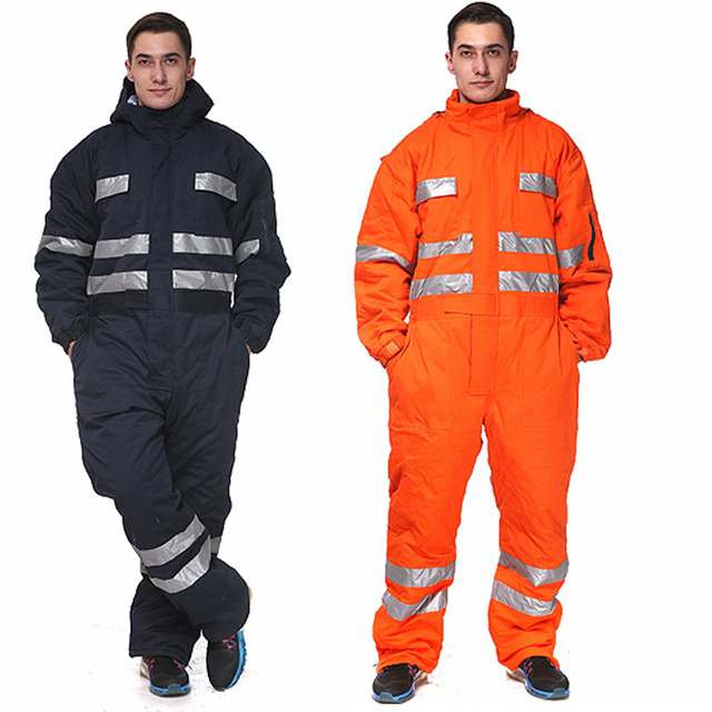 9406a8526239 Men Overalls Thicken Warm Winter Clothes Work Clothing Long Sleeved Hooded  Coveralls Reflective Wear-resistant Labor Overalls