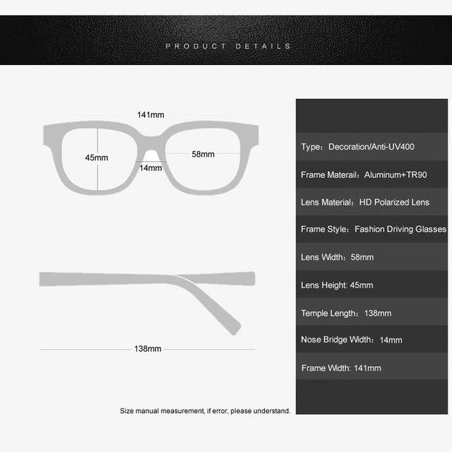 POLARSNOW Aluminum+TR90 Men's Polarized Sunglasses, Square Vintage Stylish Comfortable Frame