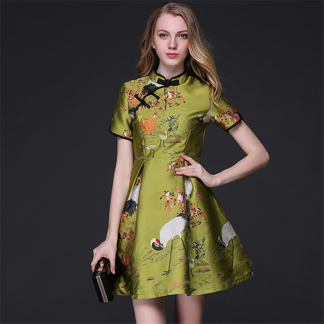 High Quality Cheongsam Style Jacquard Mandarin Collar A Line Dresses For  Women Vine Print Short Sleeve a212de52cbb5
