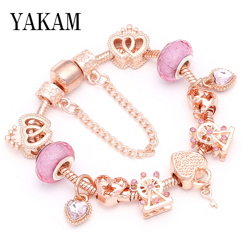 2019 rose gold color pink crystal ferris wheel heart bead fit original charms bracelet & fashion bangles for women jewelry gift