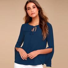Blouse Women Autumn Long Sleeve Tops Split Flare Shirt Causal Blouses Fashion Blusas Chemise Femme WS1852X