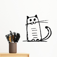 Curly Heavy Tail Cat Crazy Smile Stripe Sit Black Line Removable Wall Sticker Art Decals Mural