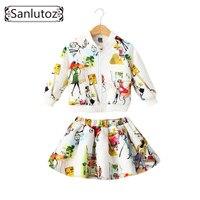 Sanlutoz الأطفال ماركة الملابس الفتيات مجموعة ملابس الاطفال الفتيات ملابس الشتاء الرياضة تناسب طفل 2 قطع (سترة + تنورة)