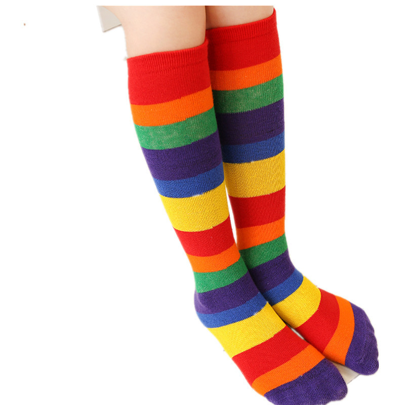 Rainbow Striped Children's Tube Socks Tide Fashion Baby Girls Boy Knee Skarpety Meias Infantil Stuff Fashion Kids School Kinder