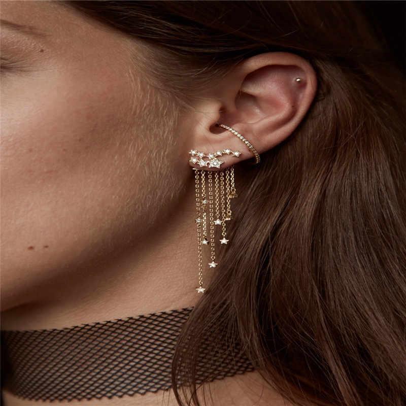 YWOSPX โรแมนติก Star พู่ Zircon Silver สี Dangle ต่างหูสำหรับผู้หญิงเครื่องประดับ Brincos Engagement ต่างหูของขวัญ