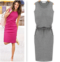 New Arrival 2015 Early Autumn Fashion Europe Brand Design Casual Dress For Women O Neck Sleeveless
