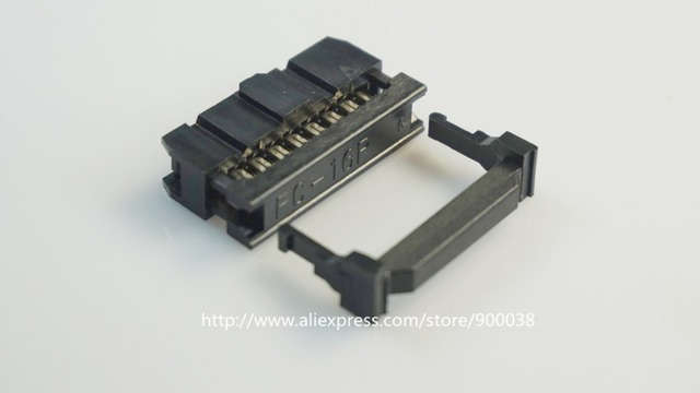 """100 Pcs 0.100"""" 2.54mm 16 Pin dual Row IDC Connector  2 rows 16 position Rectangular Female Socket Receptacle Ribbon Cable FC-16"""