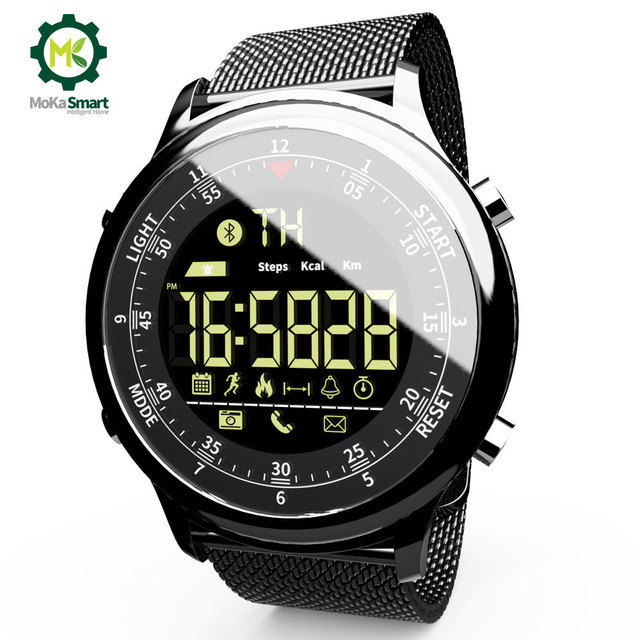 MOKA Bluetooth Smart Watch Waterproof Sport Men Digital clock Ultra-long Standby Call Reminder Smartwatch For ios  and Android