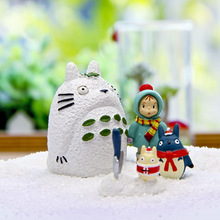 ФОТО Miyazaki Hayao  Anime Totoro Winter Christmas Edition Mei DIY Micro Landscape Doll Minifigure Figure Action Toy