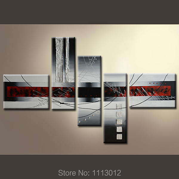 Abstract Flower White Line Oil Painting On Canvas High Quality 5 Pcs Sets Home Modern Wall Art Decoration For Living Room Sale