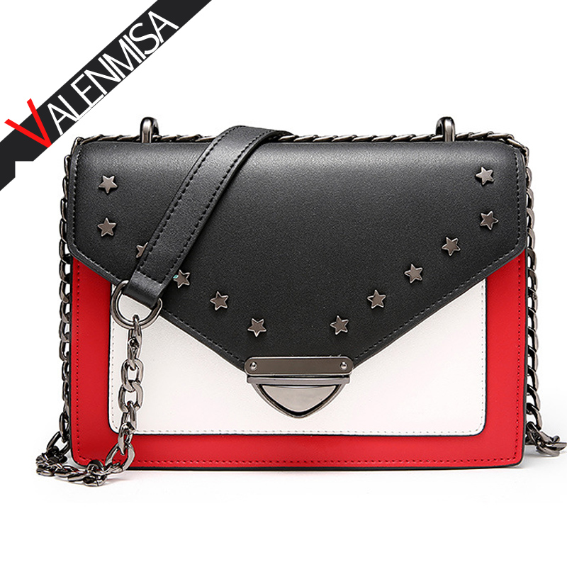 VALENMISA Small Genuine Leather Bags Ladies Star Rivet Shoulder Messenger Bags Designer Chain Hand Bags Crossbody Bags For Women genuine leather women messenger bags rivet small flap shoulder bag crossbody bags designer brand ladies female clutch hand bags
