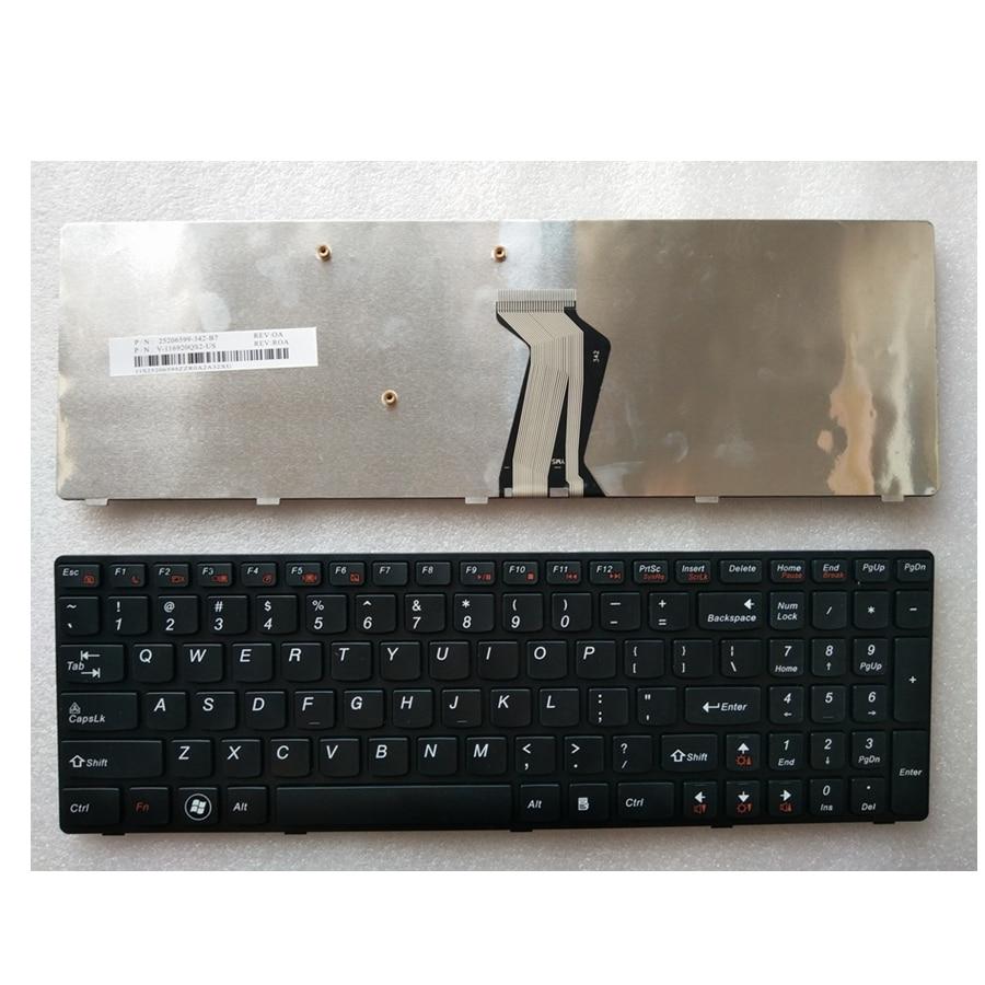 English Laptop Keyboard for Lenovo Y580 Y580N Y580A Y590 Y590N US black frame Black Laptop new turkey laptop keyboard for lenovo y590 y500 y510p tr laptop keyboard with frame blacklight