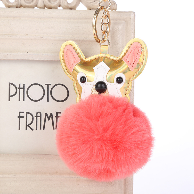Sequins Dog Pom Pom Keyring Faux Fur Ball Keychain for Handbag Car Key Ring Cute Dog Pendant Key Chain Pendant Porte Clef Charm