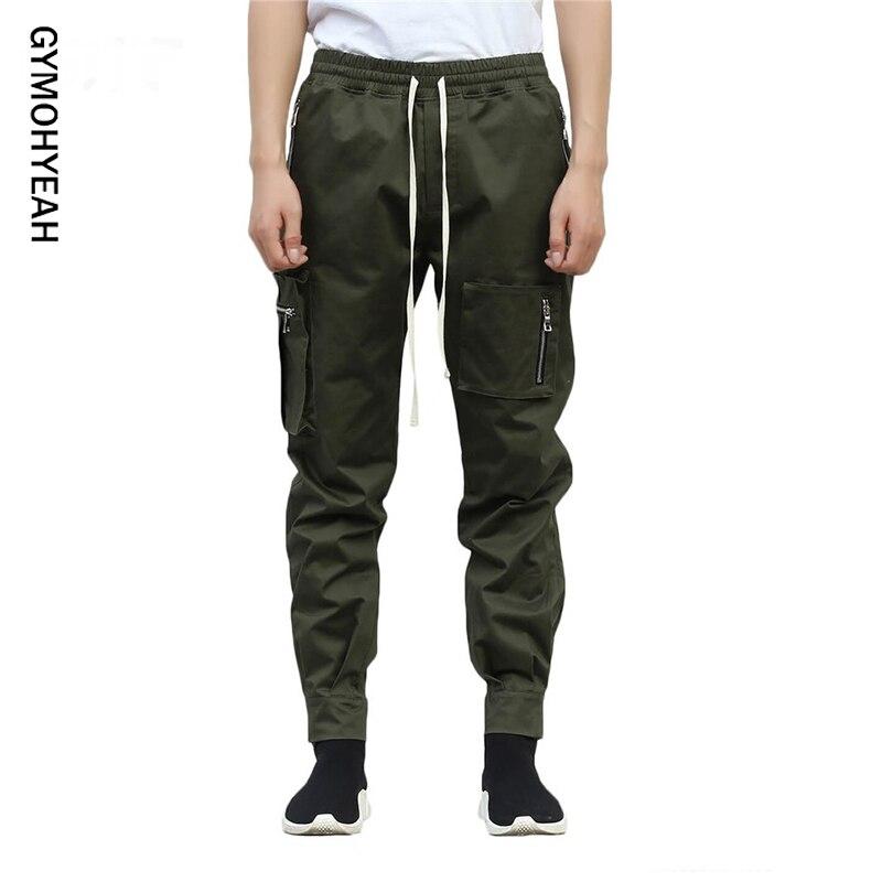 GYMOHYEAH Brand Men Multi-pocket Harem Hip Pop Pants Trousers Streetwear Sweatpants Hombre Male Casual Fashion Cargo Pants Men