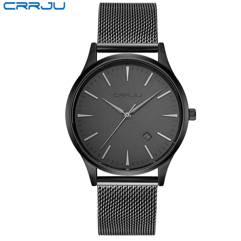 CRRJU black Watch Men Watches Top Brand Luxury Famous Wristwatch Male Clock Black Quartz Wrist Watch Calendar Relogio Masculino bailishi watch men watches top brand luxury famous wristwatch male clock golden quartz wrist watch calendar relogio masculino