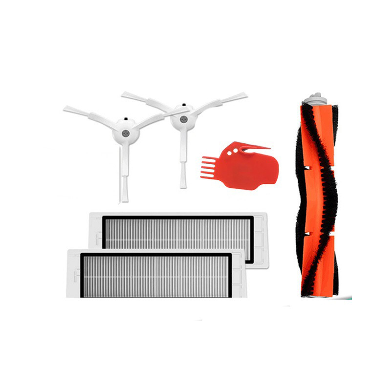 6pcs Xiaomi Vacuum Cleaner parts 2 x side brush + 2 x HEPA filter + 1 x main brush + 1 x tool Suitable for Xiaomi Mi Robot
