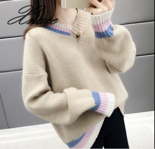 Xnxee V neck sweater female loose 2019 spring new thick wool outside wearing bottoming sweater in Pullovers from Women 39 s Clothing