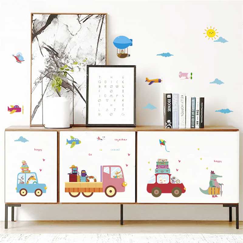 cartoon aircraft cars animals wall stickers bedroom nursery home decorations diy decals pvc mural art boys gifts posters