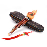 Chinese Traditional Cucurbit Flute Professional Woodwind Instrumental Performance Levelled Sandalwood Hulusi Three tone Flute