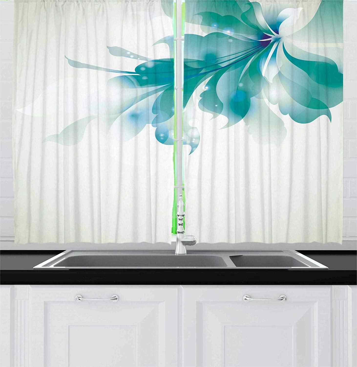 Abstract Blackout Curtains Big Single Beautiful Abstract Blue Shades Ombre Flowers Artwork Window Drapes For Living Room
