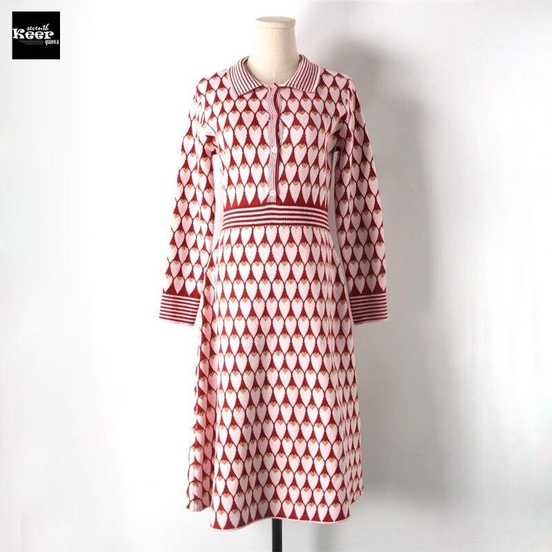 2018 New Autumn Winter Basic Knitted Sweater Dresses Women Heart Jacquard Contrast Color Casual Dress Autumn Knitwear Vestidos
