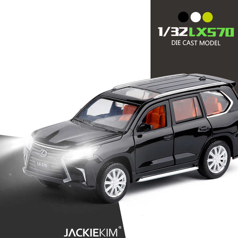 1:32 LEXUS LX570 Music Light Alloy Metal Diecast Car Toy Gold White Black Door Openable Pull Back Model Car Toys For Kids Gifts