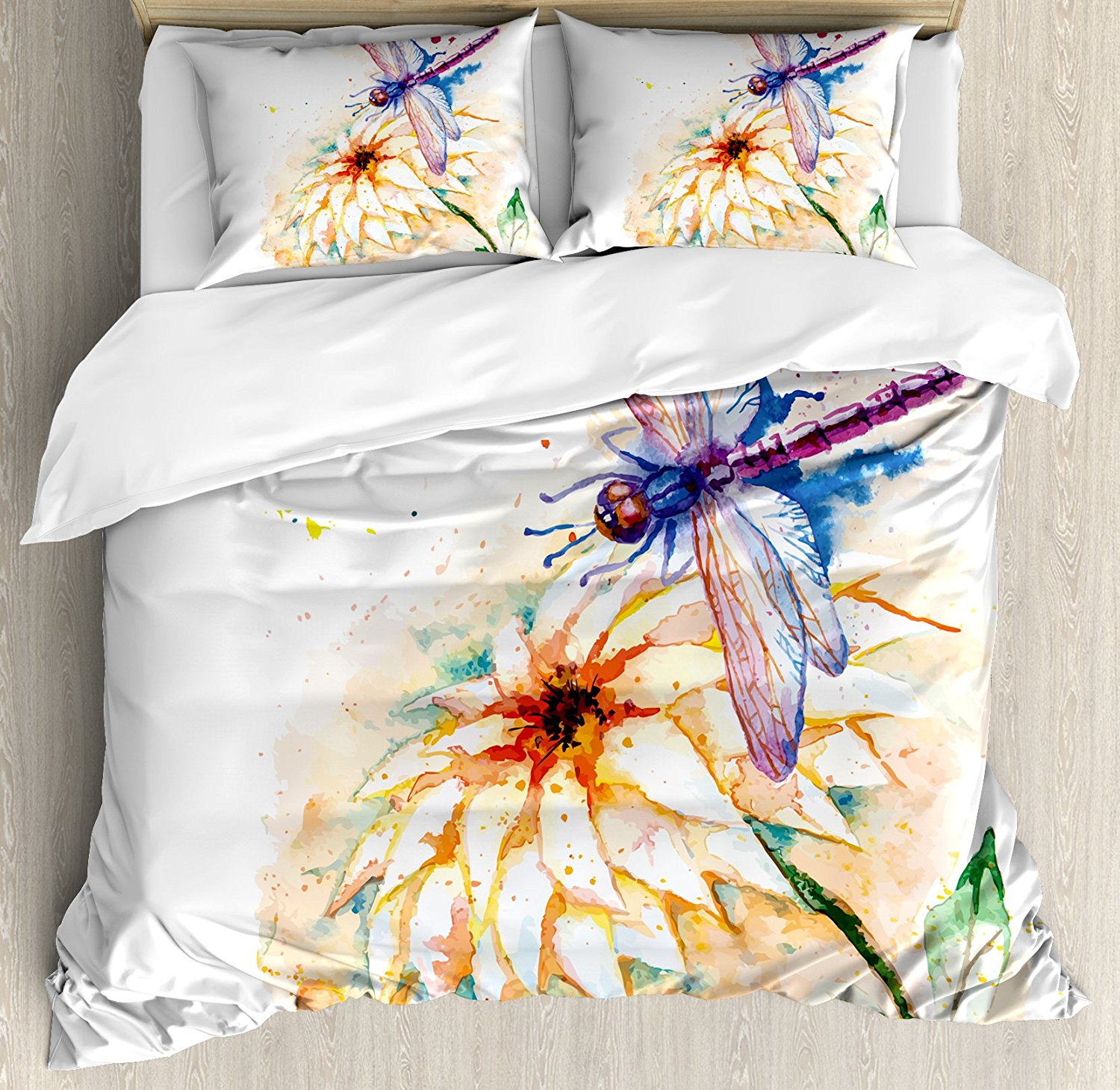 Dragonfly Duvet Cover Set Watercolor Stylized Lily Flower And Flying Bug Over It Nature Spring Theme Print 4pcs Bedding Set
