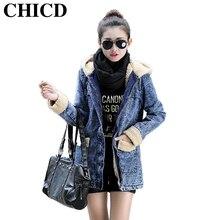 CHICD  2016 Autumn Winter Women New Fashion Thicken Jacket Pockets Keep Warm Jacket With Hood Casual Denim Coats XC180