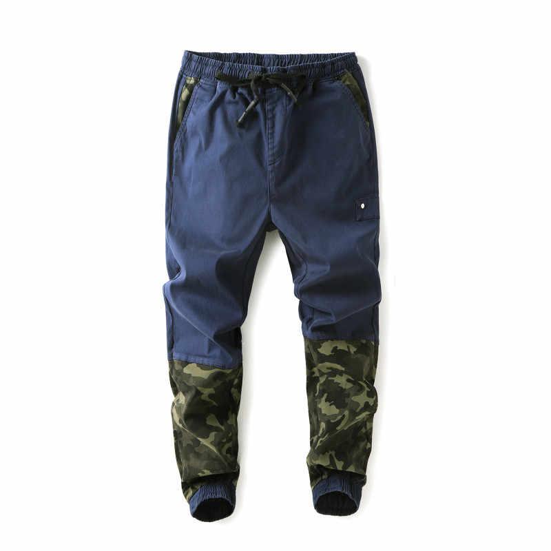 Talla grande 5XL 6XL 7XL pantalones informales para hombre 2018 otoño nuevo estilo Hip Hop camuflaje costura pantalones Harem elástico pantalones