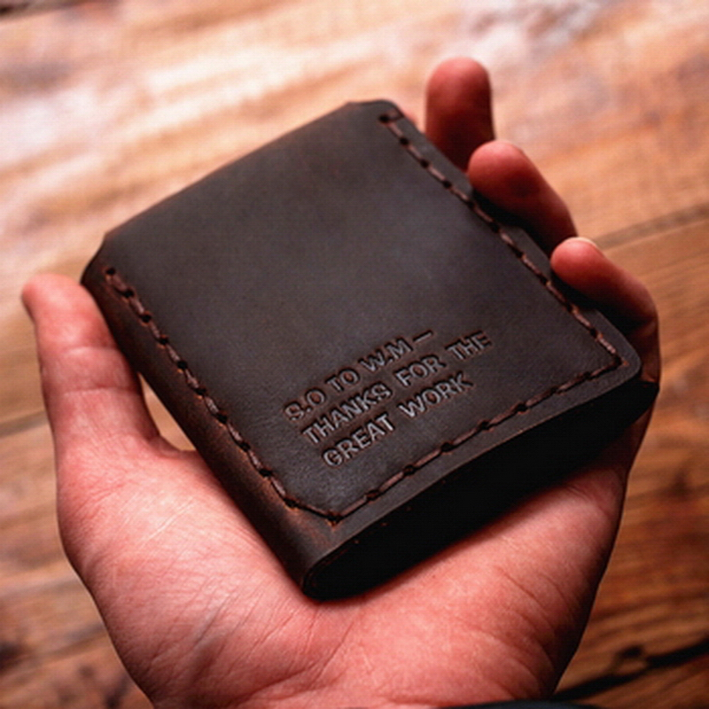 100% Handmade Custom Vintage Style Genuine Crazy Horse Cowhide Leather Men Small Short Wallet Purse Male