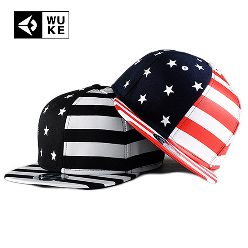 US $11 03 29% OFF|Wuke New Bones American USA Flag Cap Black Red Color  Stars Stripes Baseball Snapback For Men Women Creative 2018 Hip Hop Caps-in