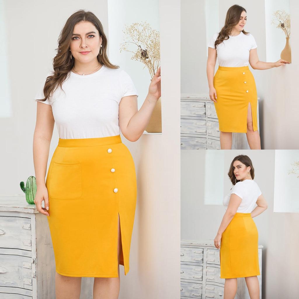 New Plus Size Yellow Color Skirts Falda Women's Casual Plus Size Solid Color Slim Pocket Button Slit Pencil Skirt Jupe Femme #7