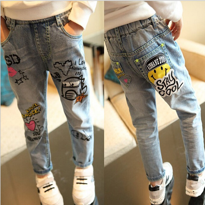 Girls Jeans schoolgirl long Pants Lovely Trousers Denim Graffiti Spring Blue 100-160 Cotton Casual Pant Free shipping sokotoo men s fashion slim fit plaid horse print jeans male elastic thin denim pants long trousers free shipping
