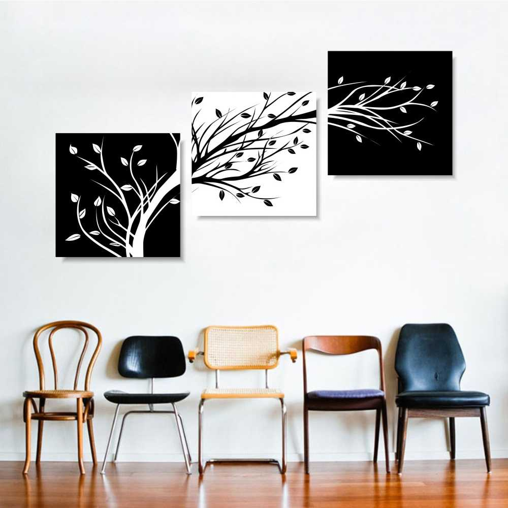 Canvas Wall Art Pictures Living Room Home Decoration 3 Pieces Black And White Tree Painting Modular HD Printed Poster Framework