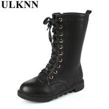 ULKNN 2020 winter girls Boys boots Genuine leather Kids Whit