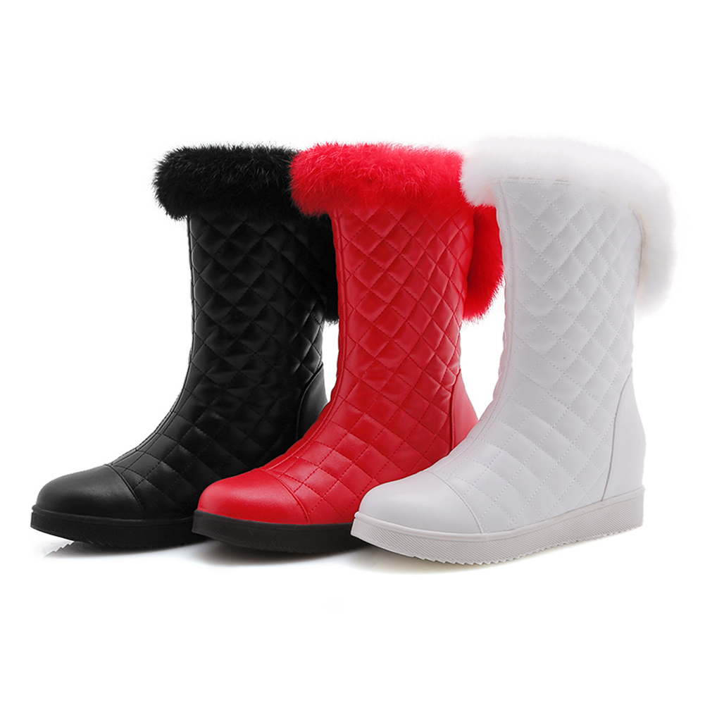 DoraTasia New Popular Women Snow Boots Faux Fur Increased Heels Warm Fur Inside Solid Winter Boots Female Shoes Woman 31-41 42