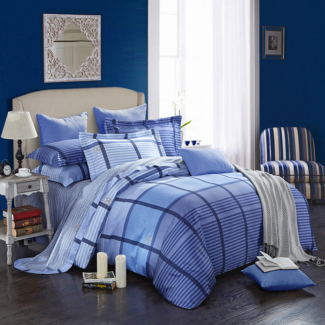 US $130 0 |American simple modern New Bedding Set Cotton satin Bedclothes  Set Down Bedding sheets Home Textiles duvet cover-in Bedding Sets from Home