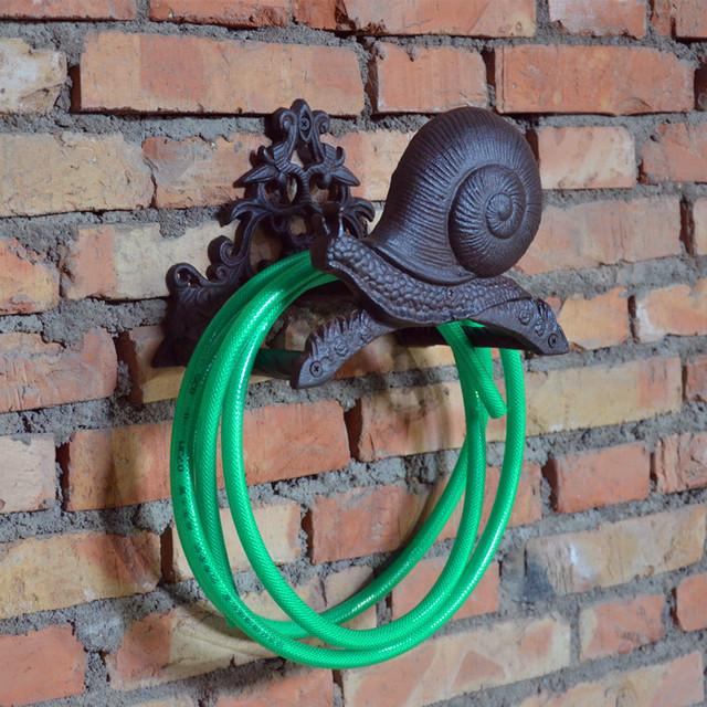 Hose Holder Cast Iron Snail Decorative Reel Hanger Garden Organizer Storage Stand Wall Mounted