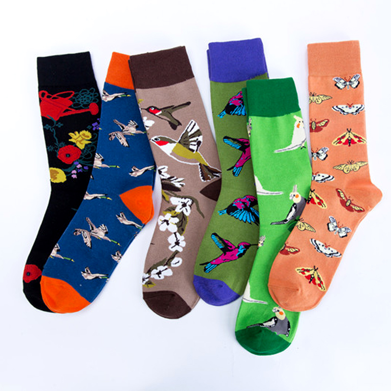 Wild Goose Butterfly Flowers Parrot Birds Hummingbird Premium Men Women   Socks   Happy Short Male Cotton Pop Crazy Female   Socks