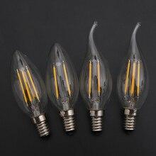 LED Filament Candle Light Bulb E14 220V 2W 4W 6W C35 Edison Bulb Retro Antique Vintage Style Cold White Warm White Lamp цена и фото
