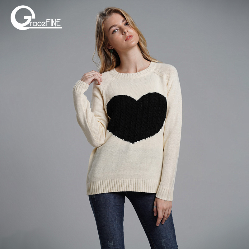 2019 new winter white knitted sweater Women lantern sleeve loose gray pullover female Soft warm autumn casual love heart jumper