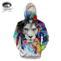 King of the lion by Pixie cold Art 3D Zipper Hoodies Men Sweatshirts Brand Tracksuits Casual Streetwear Animal Hoodie ZOOTOP B